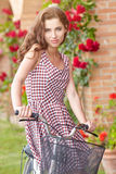 Woman in Tuscany garden. Summer time Stock Photos