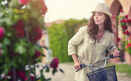 Woman in Tuscany garden. Summer time Stock Photo