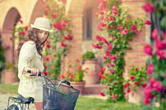 Woman in Tuscany garden. Summer time Royalty Free Stock Photo