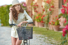 Woman in Tuscany garden. Summer time Royalty Free Stock Photos