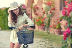 Woman in Tuscany garden. Summer time Royalty Free Stock Images