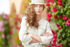 Woman in Tuscany garden. Summer time Stock Images
