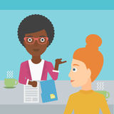 Woman during tv interview. A journalist interviewing an african-american woman on a light blue background vector flat design illustration. Square layout Stock Image