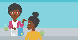 Woman during tv interview. A journalist interviewing an african-american woman on a light blue background vector flat design illustration. Horizontal layout Royalty Free Stock Photos