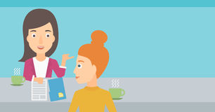 Woman during tv interview. A journalist interviewing a woman on a light blue background vector flat design illustration. Horizontal layout Royalty Free Stock Photo