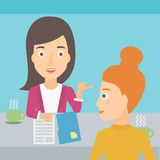Woman during tv interview. A journalist interviewing a woman on a light blue background vector flat design illustration. Square layout Royalty Free Stock Image