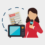 Woman tv reportage news Royalty Free Stock Image