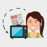 Woman tv reportage news Royalty Free Stock Photography