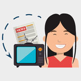 Woman tv reportage news. Illustration eps 10 Stock Photo