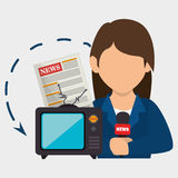 Woman tv reportage news. Illustration eps 10 Royalty Free Stock Image