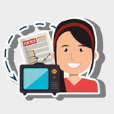 Woman tv reportage news. Illustration eps 10 Royalty Free Stock Photo