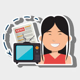 Woman tv reportage news. Illustration eps 10 Royalty Free Stock Photos