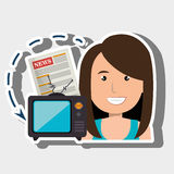 Woman tv reportage news. Illustration eps 10 Royalty Free Stock Images