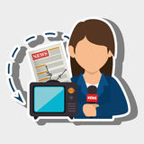 Woman tv reportage news Royalty Free Stock Images