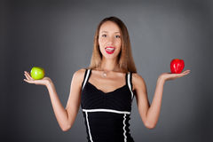 woman with two apple Stock Photo