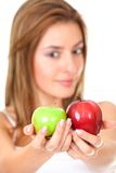 Woman with two apples Royalty Free Stock Image