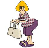 Woman with two bags. This illustration that I created depicts a woman holding two bags Stock Photography