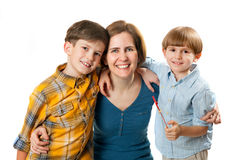 The woman with two boys Royalty Free Stock Images