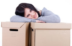 Woman with two cardboard boxes Stock Photos