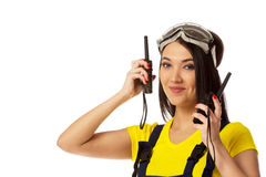 Woman with two cb radio, portrait Stock Image