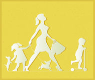 Woman with two children and dogs. Super mother doing shopping an Royalty Free Stock Images