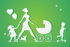 Woman with two children and dogs. Super mother. Walks with children. Vector silhouette Royalty Free Stock Images