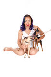 Woman with two dogs. Royalty Free Stock Photo