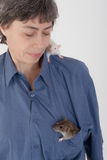 Woman with two domestic rats Stock Photography