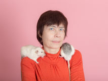 Woman with two domestic rats Stock Photos