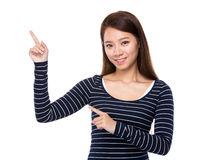 Woman with two finger show out Royalty Free Stock Photography