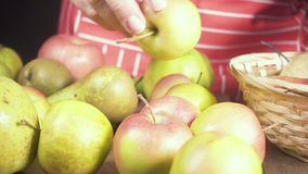Woman with two hands puts fruit in basket slow motion. A woman in a red striped apron puts apples and pears on a wooden table in a wicker basket and the camera stock footage