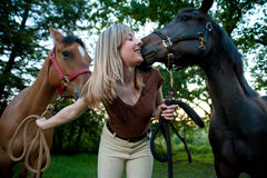 Woman and two horses Royalty Free Stock Photos