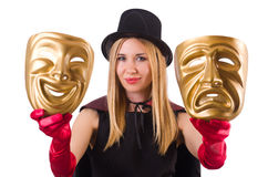 Woman with two masks. Isolated on white Stock Images