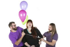 Woman with Two Men Stock Photography