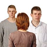 Woman and two men. Woman and two men in studio Royalty Free Stock Photo
