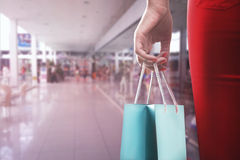 Woman with two shooping bags Royalty Free Stock Photos