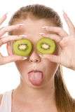 Woman and two slices of kiwi Royalty Free Stock Photo