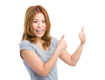 Woman with two thumb up Royalty Free Stock Photos