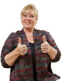 Woman two thumbs up. Mature woman - two thumbs up signs royalty free stock images
