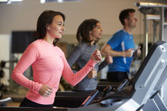 Woman and two young adults running on treadmills at a gym Stock Photo