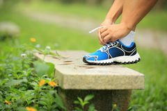 Woman tying shoelace outdoor Royalty Free Stock Photography