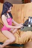 Woman and typewriter Stock Photo
