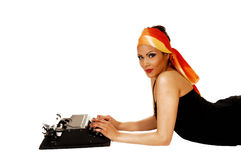 Woman with typewriter. Stock Photography