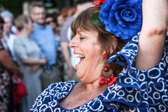 Woman with typical costumes of Andalucia in Spain Fuengirola Fai Royalty Free Stock Image
