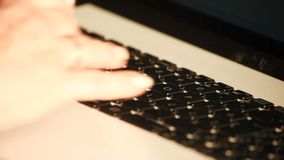 Woman typing on computer. Woman, with beautiful finger nails,  typing on computer,close up stock video