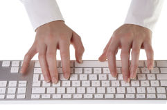 Woman typing on keyboard Royalty Free Stock Photography