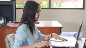 Woman Typing keyboard stock video