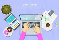 Woman Typing On Laptop Computer, Top View On Desk With Digital Tablet And Smart Phone Workplace Concept. Flat Vector Illustration Royalty Free Stock Photography