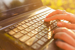 Woman typing on a laptop keyboard in a warm sunny day outdoors. Royalty Free Stock Photos
