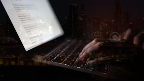 Woman typing on laptop at night. Low light mix timelapse stock video
